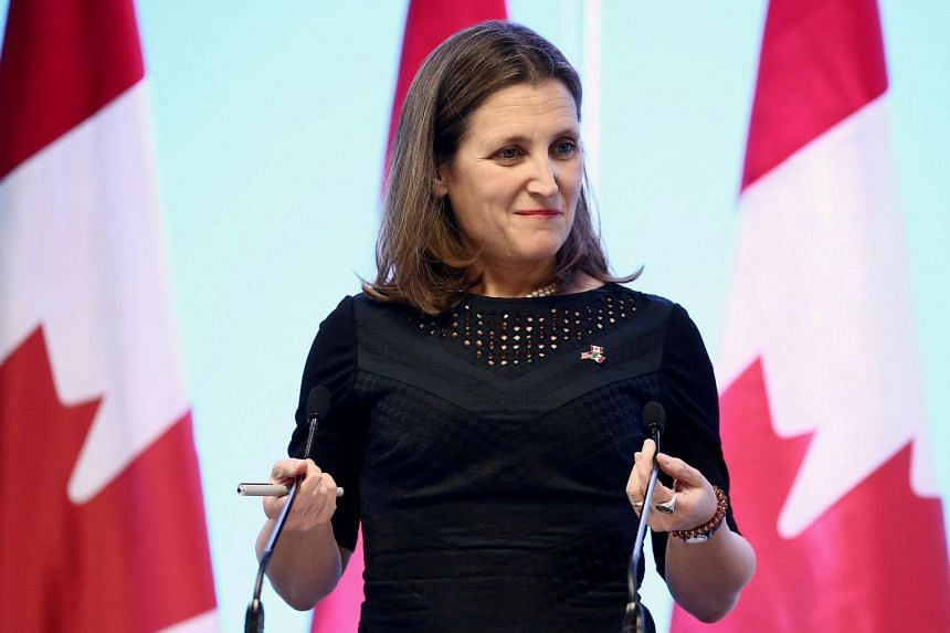 Freeland (above) did not answer directly when asked whether the end of August was a realistic deadline.