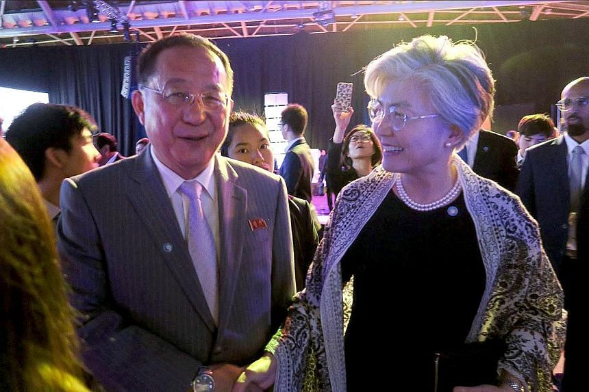 Mr Ri Yong Ho and Dr Kang Kyung-wha at the working dinner for Asean-led ministerial meetings. Mr Ri turned down a request for a formal bilateral meeting.