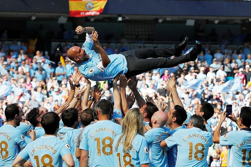 Pep Guardiola celebrating his first Premier League title with Manchester City. The Catalan is promising to leave no stone unturned to lead his side to more silverware, starting with the Community Shield.