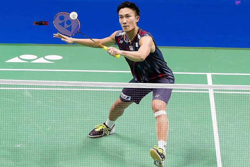 A triumphant Shi Yuqi of China celebrates after defeating compatriot Chen Long in their semi-final at the World Championships in Nanjing yesterday. Shi will meet Japanese Kento Momota (above), who defeated unseeded Malaysian Daren Liew, in today's final.