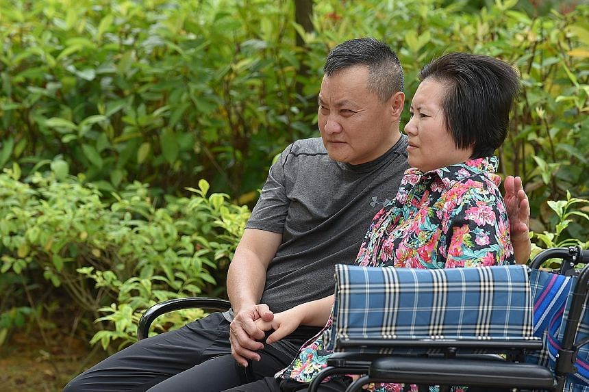 Mr Soh with his wife, Madam Hou Huhong, who is permanently disabled and now lives in a nursing home. He visits her daily.