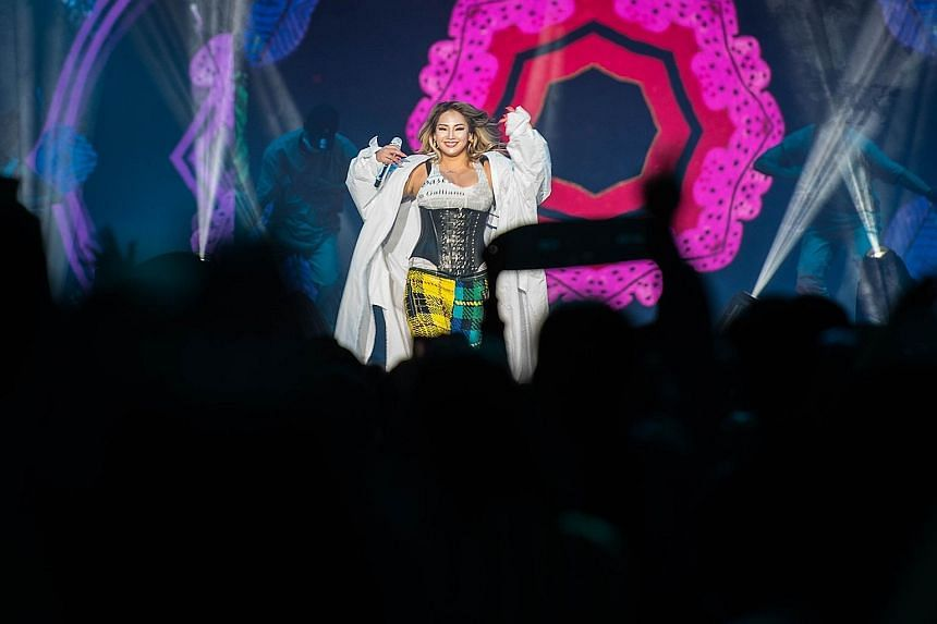 South Korean singer-songwriter and rapper CL doing her first solo performance in Singapore at the Hyperplay event at the Singapore Indoor Stadium yesterday.