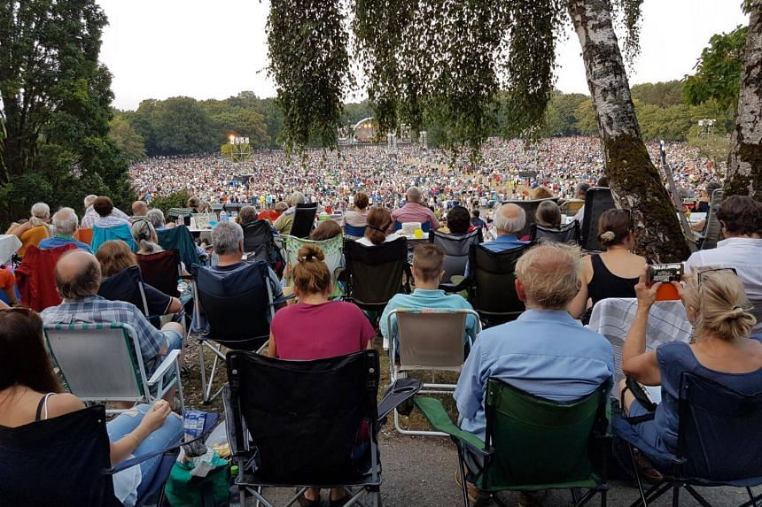 Around 65,000 people attending the Klassik Open Air concert held at the Luitpoldhain park in the southern German city of Nuremberg, on Aug 4, 2018.