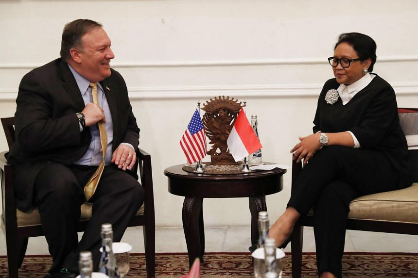 US Secretary of State Mike Pompeo (left) attends a meeting with Indonesian Foreign Minister Retno Marsudi in Jakarta, on Aug 4, 2018.