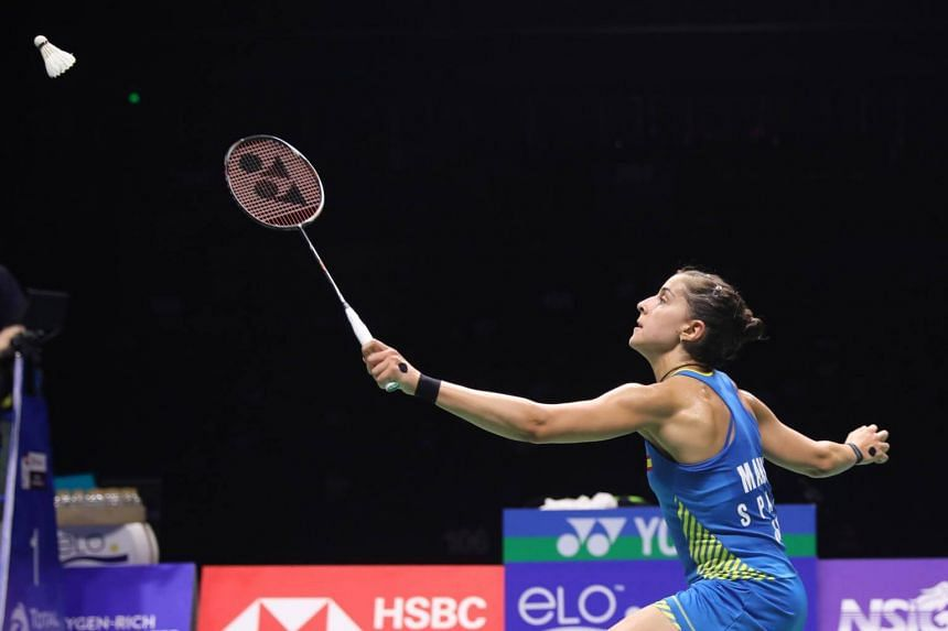 Carolina Marin in action during her women's singles semi-final match at the 2018 Badminton World Federation World Championships in Nanjing, on Aug 4, 2018.
