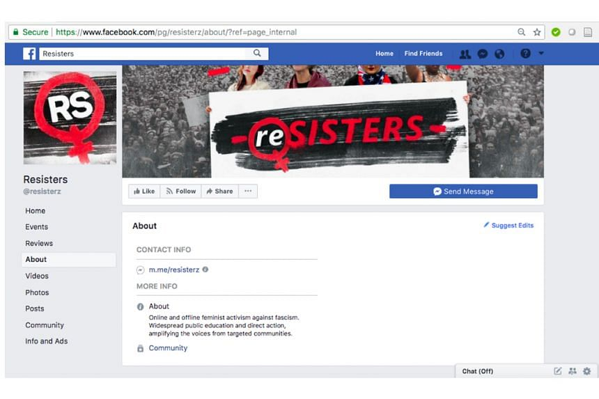 The Facebook page of the Resisters group.