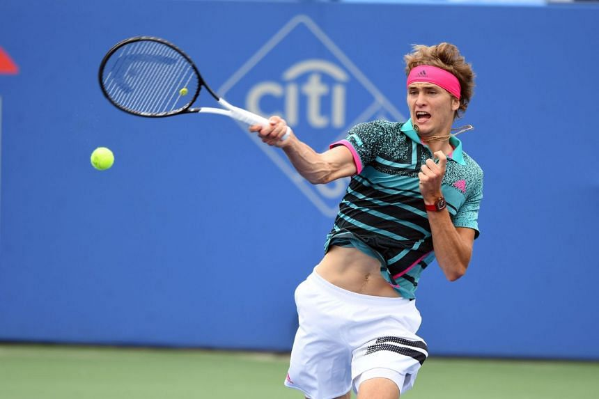 Zverev in action at the Citi Open on Aug 3, 2018.
