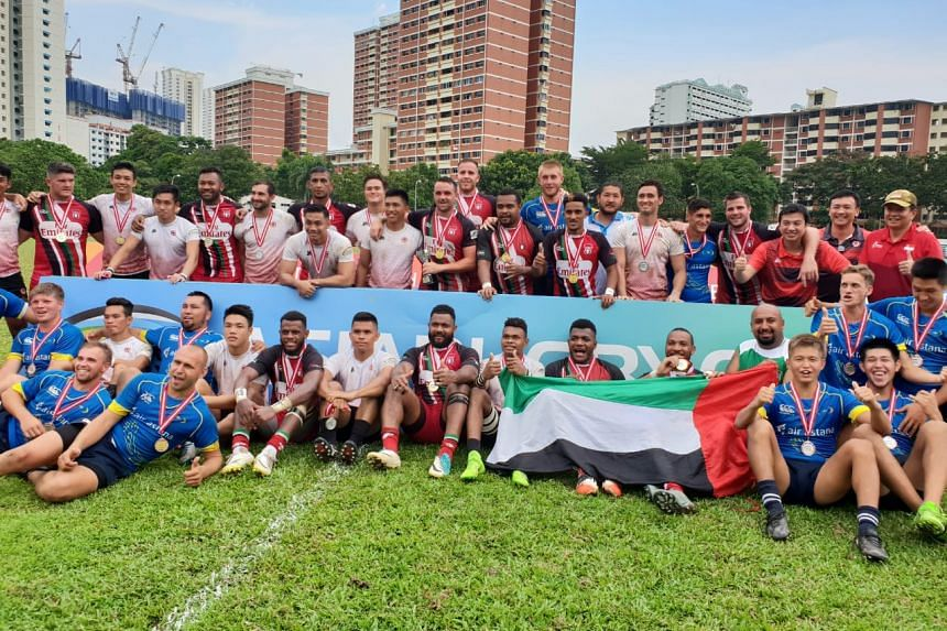 The United Arab Emirates beat Singapore 14-0 in the Asia Rugby Sevens Trophy final at Queenstown Stadium on Aug 5, 2018.