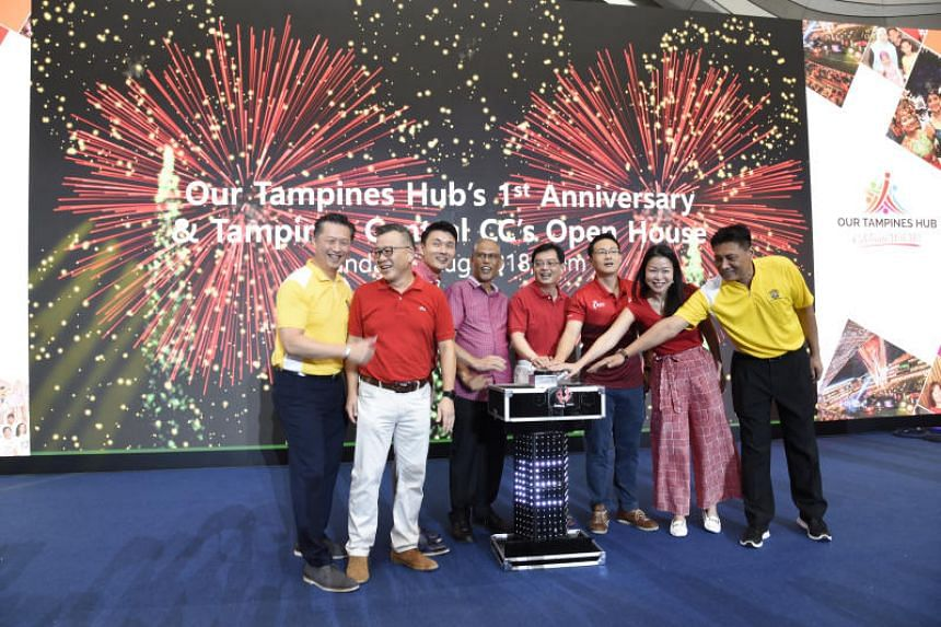 Finance Minister Heng Swee Keat (fourth from right), Environment and Water Resources Minister Masagos Zulkifli (fourth from left) and Senior Parliamentary Secretary for Transport, and Culture, Community and Youth Baey Yam Keng (third from left) at th