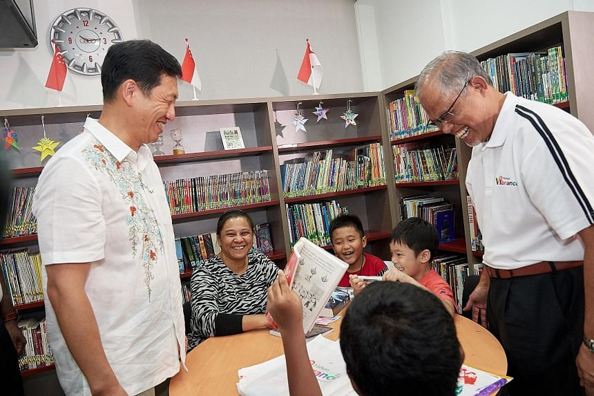 Education Minister Ong Ye Kung (left) and Environment and Water Resources Minister Masagos Zulkifli visiting the new Vibrance @ Yishun centre yesterday.