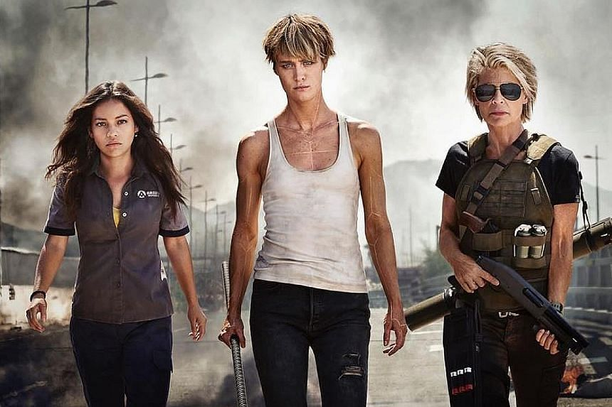 Fans who prefer action heroines have cheered the release of the first image from the Terminator reboot. Featuring (from far left) Natalia Reyes, Mackenzie Davis and Linda Hamilton (as Sarah Connor), the movie is directed by Tim Miller (Deadpool) and