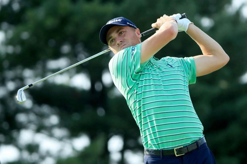 Justin Thomas plays his shot from the 17th tee during the World Golf Championships-Bridgestone Invitational on Aug 5, 2018 in Akron, Ohio.