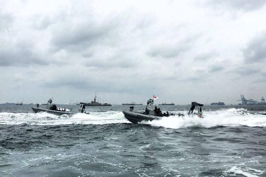 File photo showing navy ships on the waters around Singapore, where there will be twice as many patrolling vessels on National Day.