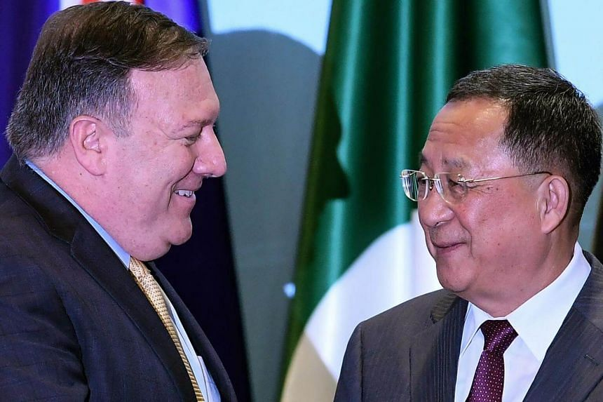US Secretary of State Mike Pompeo's (left) interaction with North Korea's Foreign Minister Ri Yong Ho seemed to be limited to a brief handshake at the Asean Regional Forum.
