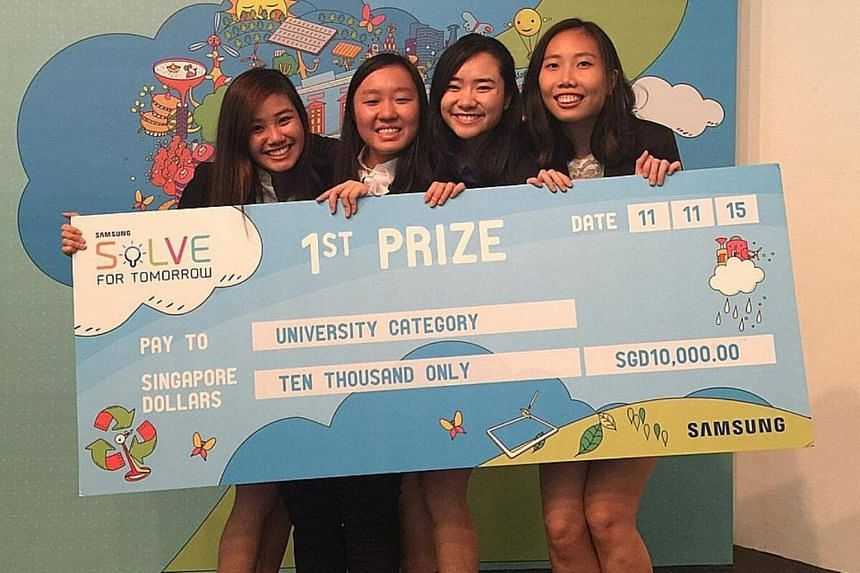 Members of the NTU team Sleeping Beauty (from left), Ms Chua Yi Bei, Ms Chan Jia Hui, Ms Jade Wee and Ms Lim Mee Mee, won the university category of the Samsung Solve for Tomorrow competition in 2015.