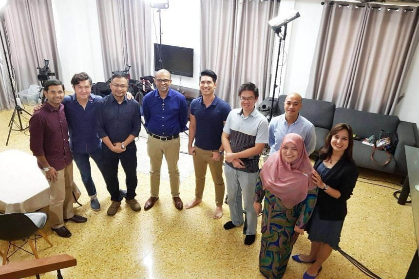 (From left) Mr Mohammed Irshad, Mr Adrian Pang, Mr Mohamed Imran Mohamed Taib, Senior Minister of State Janil Puthucheary, Mr Divian Nair, Mr Thomas Liew, OnePeople.sg ambassador Brendon Fernandez, Ms Sharifah Mariam Aljunied and Ms Melanie Oliveiro.