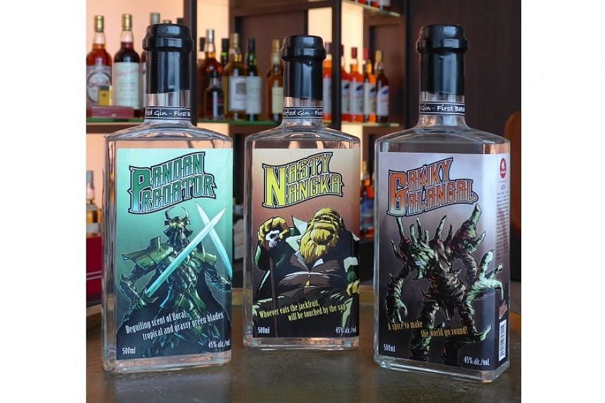 The gin labels feature unique monster characters that are based on the ingredients of the gin.