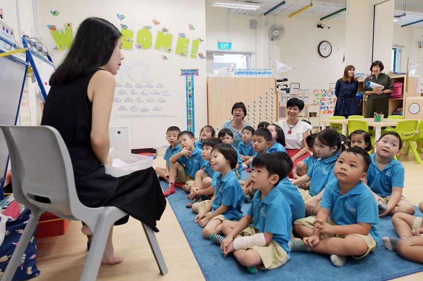 Second Minister for Education Indranee Rajah and MP for Jalan Besar GRC Denise Phua visiting the children at MK @ Punggol Cove Primary School, on Aug 6, 2018.