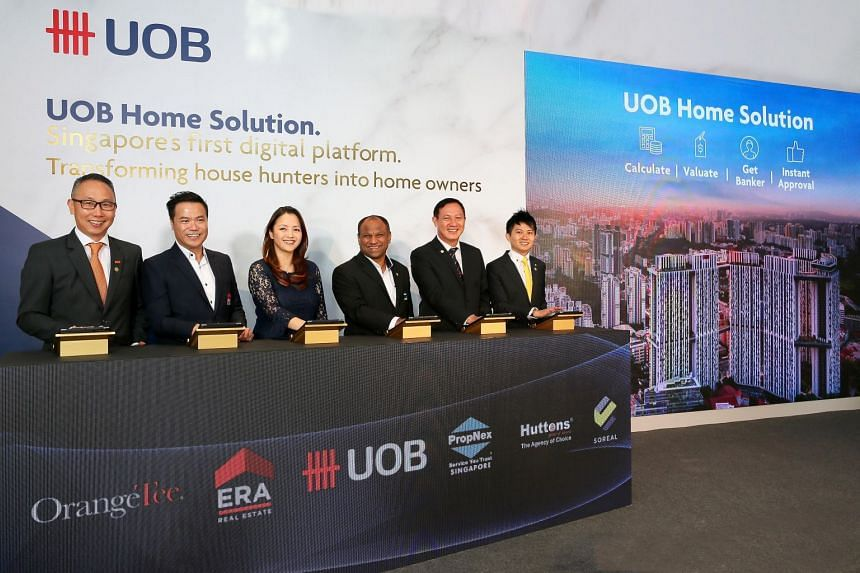 (From left) Mr Steven Tan, Managing Director of OrangeTee & Tie; Mr Jack Chua, Chief Executive Officer, ERA; Ms Jacquelyn Tan, Head of Personal Financial Services Singapore, UOB; Mr Ismail Gafoor, Chief Executive Officer, PropNex Realty; Mr Goh Kee N