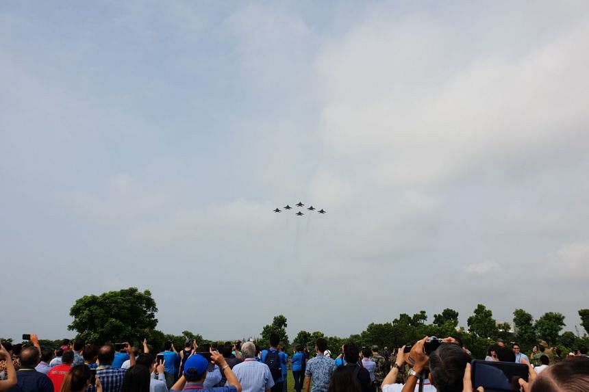 Six F-15SG fighter jets in a delta formation at Marina Barrage during a preview on Tuesday (Aug 7).