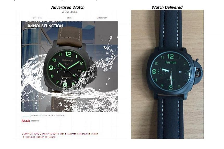 """Wowmall advertised a """"Luminor"""" watch (left), but shoppers said they received a different brand instead (right)."""