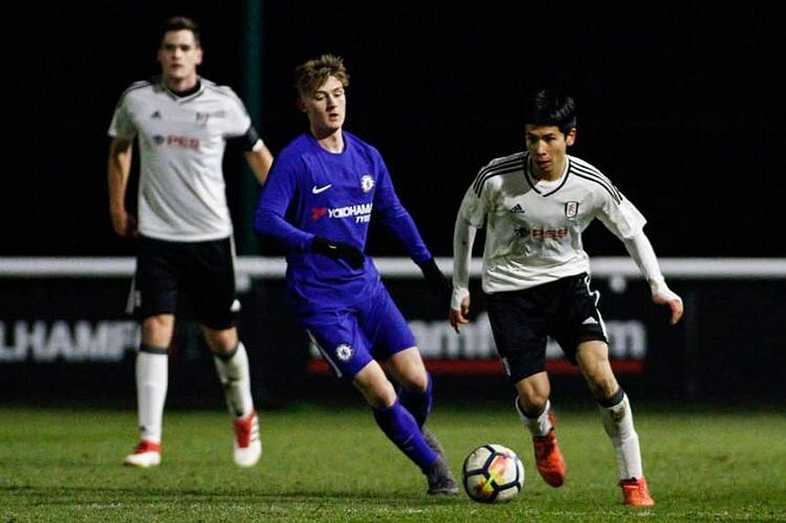 Ben Davis (far right), seen here in action during a Fulham U-18 football match against Chelsea, signed a two-year professional contract with the English Premier League club in June after his national service deferment request was rejected.