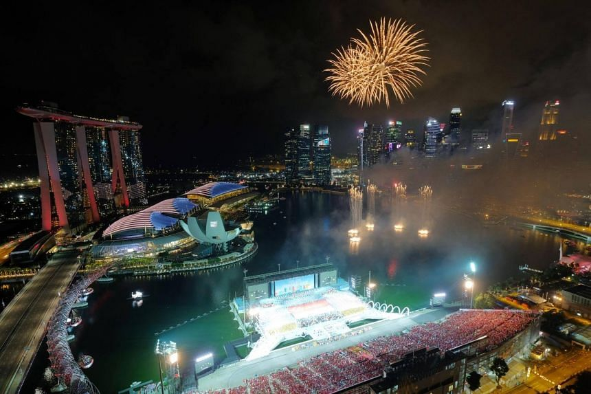 Fireworks at the National Day Parade Preview Show 2, on Aug 4, 2018.