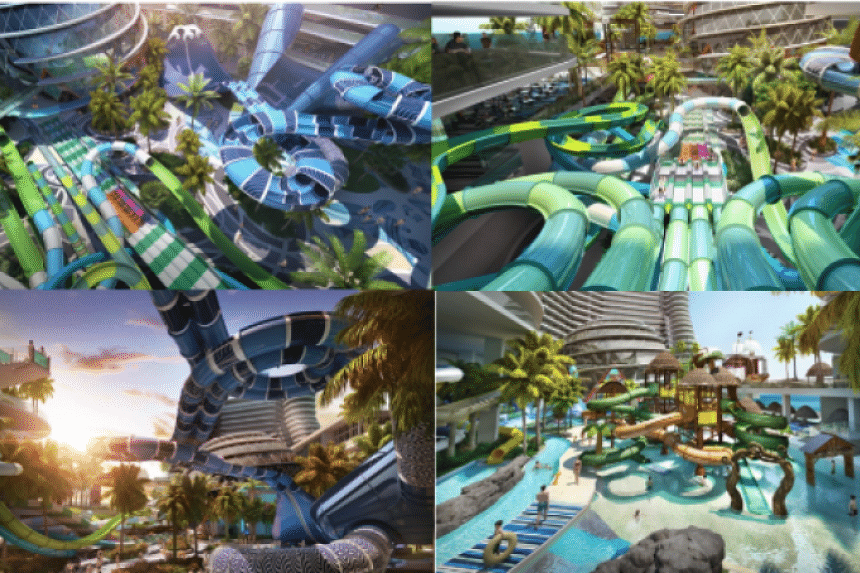 The 500,000 square foot Splash World @ Harbour City park boasts more than one kilometre of water slides. A man-made river will meander over two floors to intertwine more than 50 attractions, including 11 extreme slides for thrill-seekers, a Sky Beach