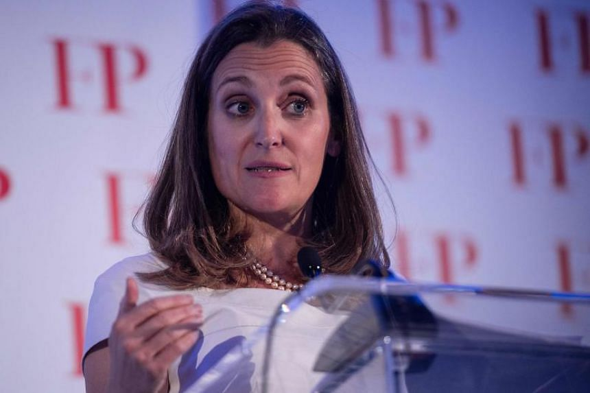 Canadian Foreign Minister Chrystia Freeland speaks after receiving the Foreign Policy's 2018 Diplomat of the Year award in Washington, DC, on June 13, 2018.