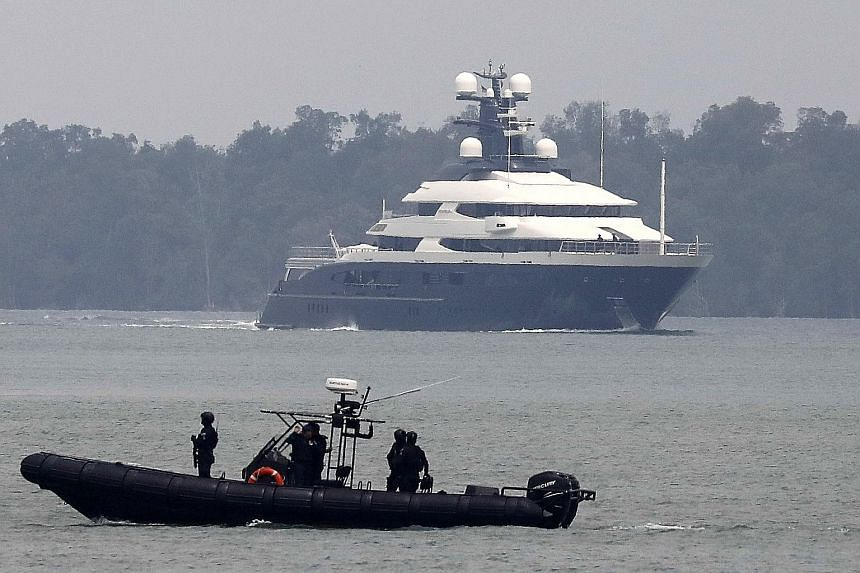 Malaysian marine police on the alert as the $342 million Equanimity sailed into Port Klang yesterday. As soon as it docked at the Boustead Cruise Centre, Malaysia's marine police took charge of its security.