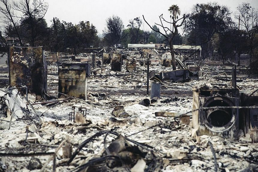 The charred remains of a row of houses in the Lake Keswick Estates area, which was devastated by the Carr Fire, in Redding, California, last Thursday. The fire, which broke out on July 23, was 47 per cent contained. Meanwhile, the Mendocino Complex b