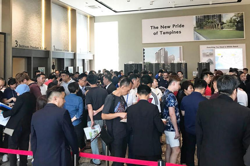 The crowd at the launch of Phase 1 of The Tapestry, CDL's 861-unit condominium in Tampines, in March this year.