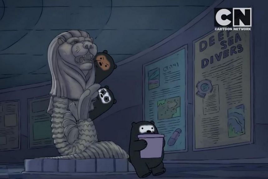 "In one scene, the bears hide behind a statue of the Merlion. One of the bears then turns to the Merlion and says: ""Farewell, beautiful creature!"""