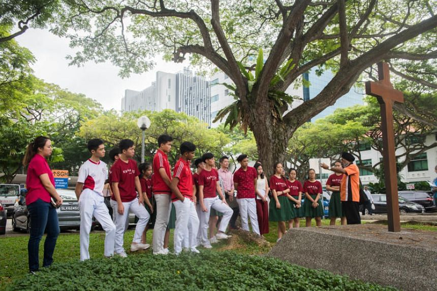 Secondary 5 students from Kranji Secondary School taking part in acitivities under the National Heritage Board's new programme SG Time Travellers.