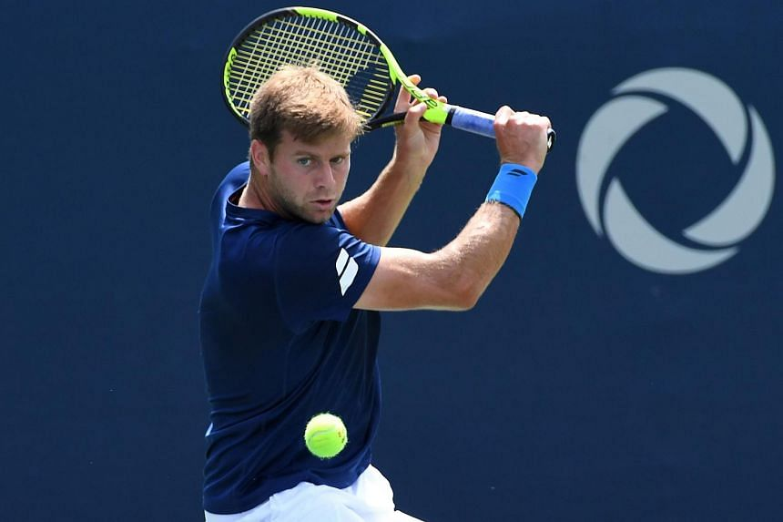 US' Ryan Harrison playing a shot in the Rogers Cup tennis tournament.