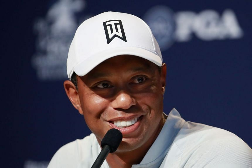 Woods speaking to the media prior to the 2018 PGA Championship.