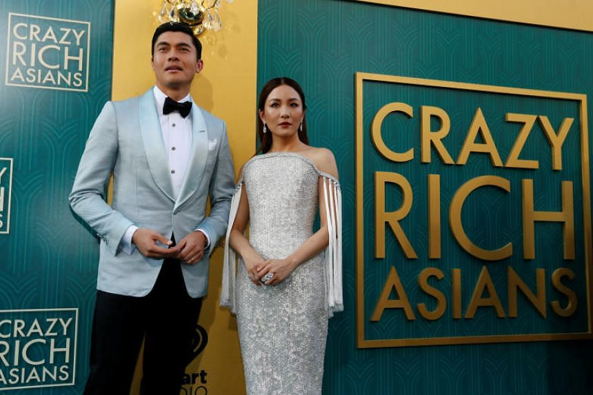 Henry Golding and Constance Wu at the premiere for Crazy Rich Asians in Los Angeles, on Aug 7, 2018.