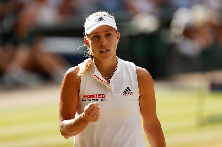 Kerber (above) committed 32 unforced errors against Cornet in her 85-minute second-round loss.