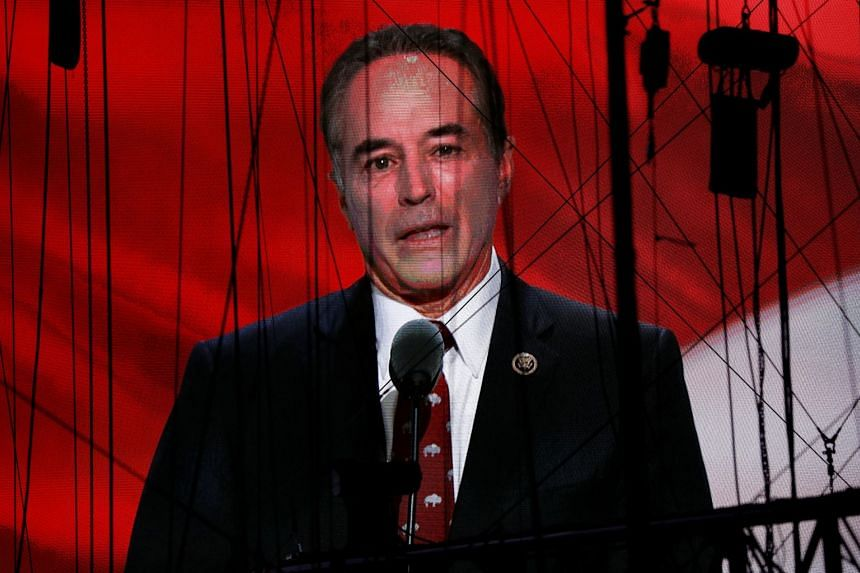 Collins is seen on a screen as he delivers his nomination speech for Donald Trump in 2016.