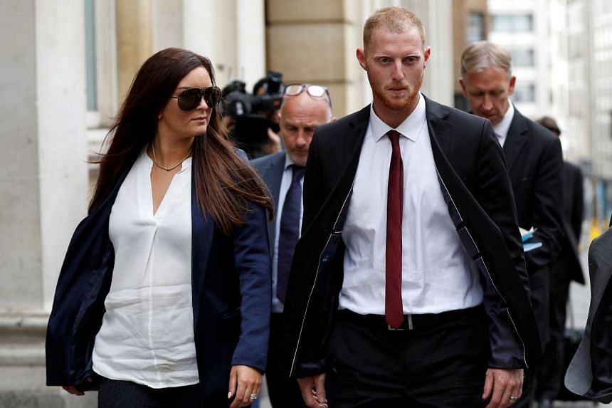 England cricket player Ben Stokes and his wife Clare Ratcliffe leave Bristol Crown Court.