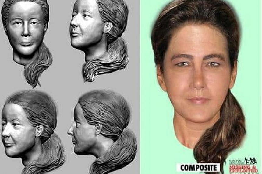 "A 3D plaster reconstruction of the face of ""Lady in the Dunes"" (far left) and a composite sketch (left)."
