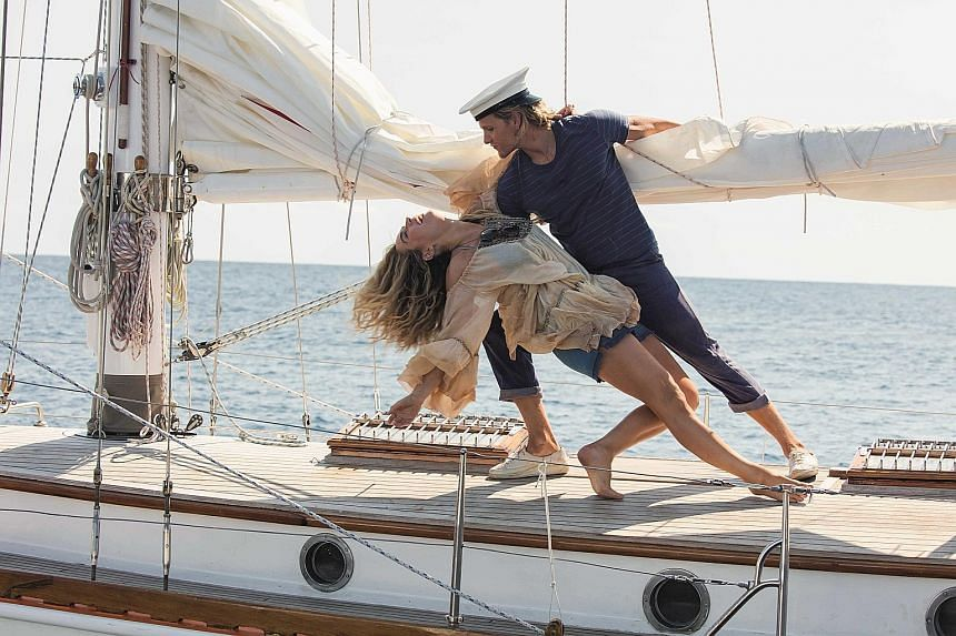 Lily James plays the young Donna, while Josh Dylan (both above) is the young Bill in Mamma Mia! Here We Go Again.