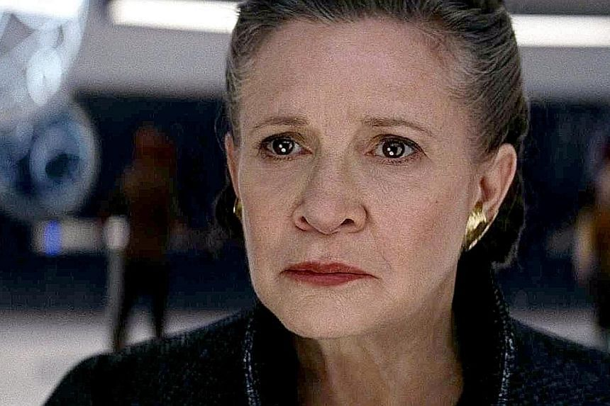 Actress Carrie Fisher (above) as Princess Leia (left), whose story was not resolved in Star Wars: The Last Jedi (2017), leaving fans dissatisfied.