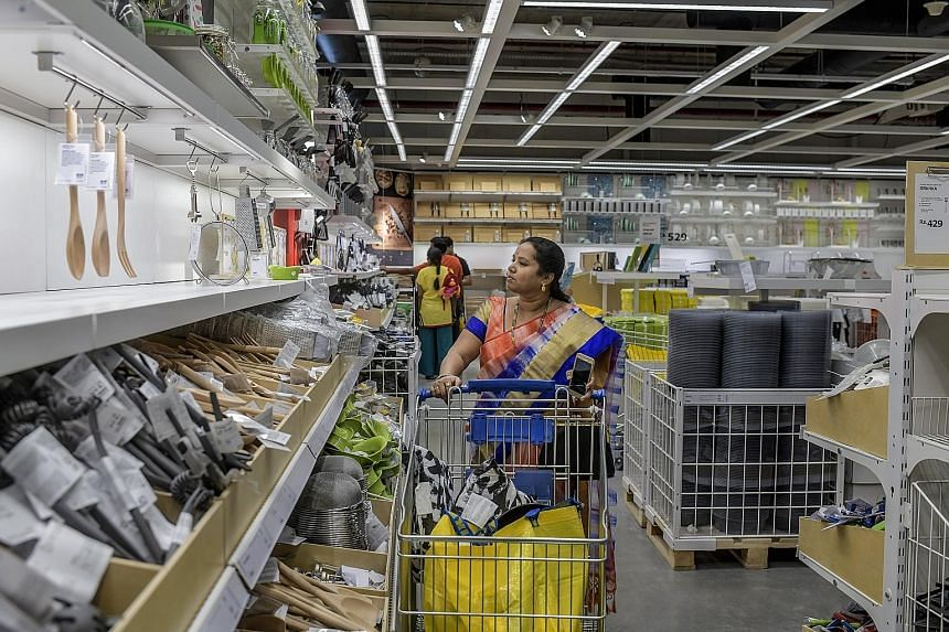 A woman browses the kitchenware shelves at Ikea's new store in Hyderabad, the Swedish retail giant's first location in India. Ikea is counting on new customers in industrialising nations bolstering sales growth in the face of brand fatigue and increa
