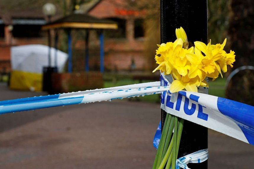Flowers are left where former Russian spy Sergei Skripal and his daughter Yulia were found critically ill on March 4, 2018.