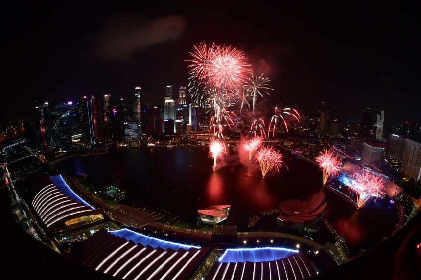Fireworks are seen during the National Day Parade on Aug 9, 2018.