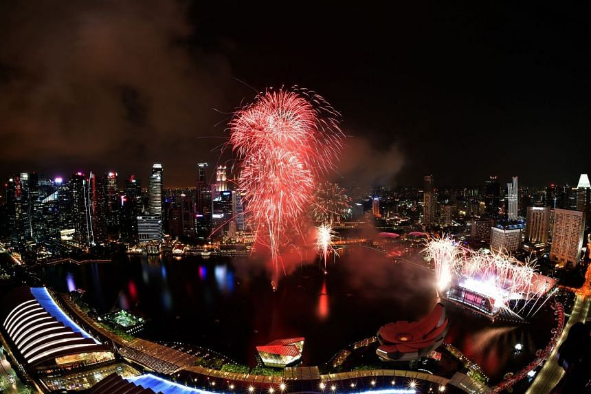 Fireworks during the grand finale of the National Day Parade Preview 2, on Aug 4, 2018.