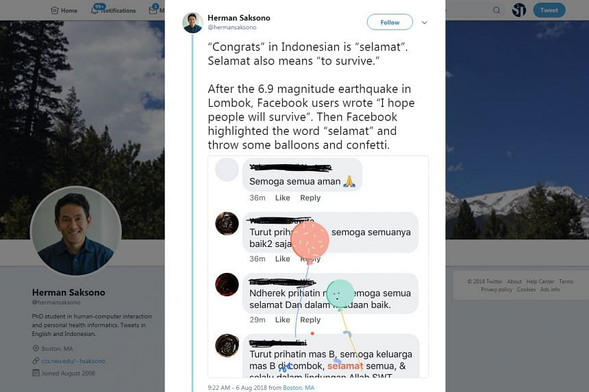 Users posting about Lombok earthquake on Facebook saw their messages decorated with images of balloons and confetti.