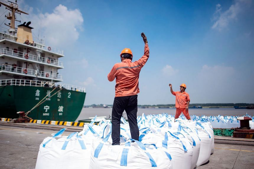 Workers unloading cargo at a port in Zhangjiagang in Jiangsu province. Washington is set to begin collecting 25 per cent tariffs on another US$16 billion (S$21.8 billion) in Chinese goods on Aug 23.