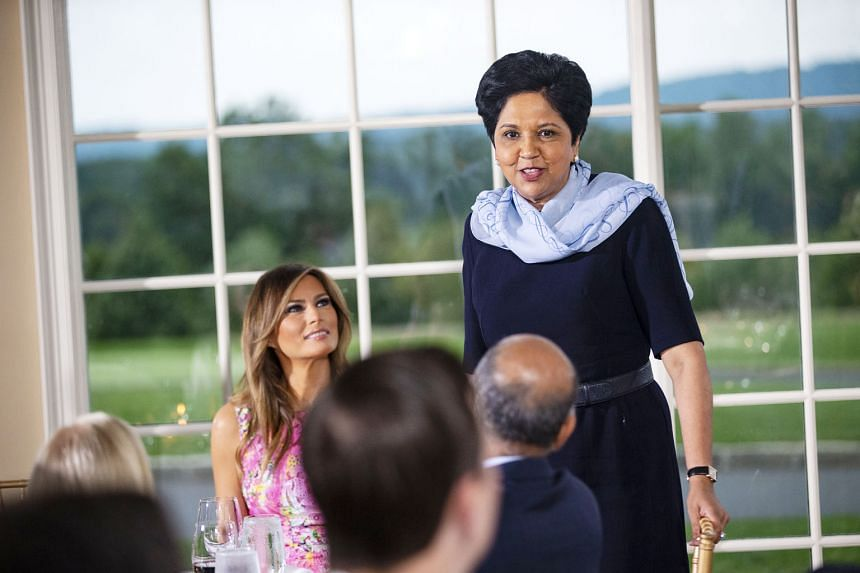 PepsiCo CEO Indra Nooyi with US First Lady Melania Trump at a dinner with business leaders hosted by President Donald Trump this month. Ms Nooyi announced on Monday she will leave the post in October. That will leave just 23 female CEOs leading Fortu